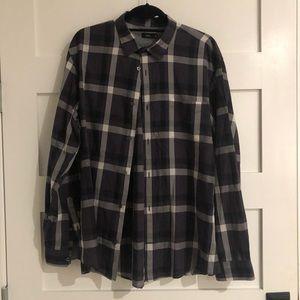 XL Vince Black & Gray shirt check plaid very Soft